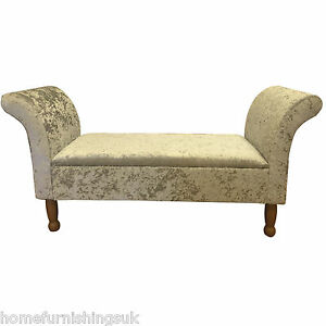 Chaise lounge style bed end storage sofa window seat bench crushed velvet ebay - End of bed storage bench uk ...
