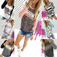 Womens Floral Print Casual Sweatshirt Pullover Ladies Hoodie Jumper T-shirt Tops