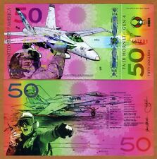 USA, $50 Private Issue Polymer, UNC > FA18 Fighter Jet, Air Force, Marine Corps