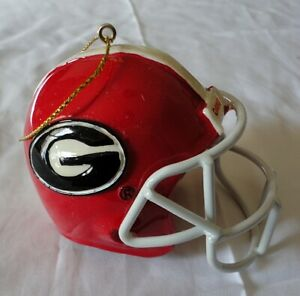 Georgia Bulldogs 3 Football Helmet Glass Ornament