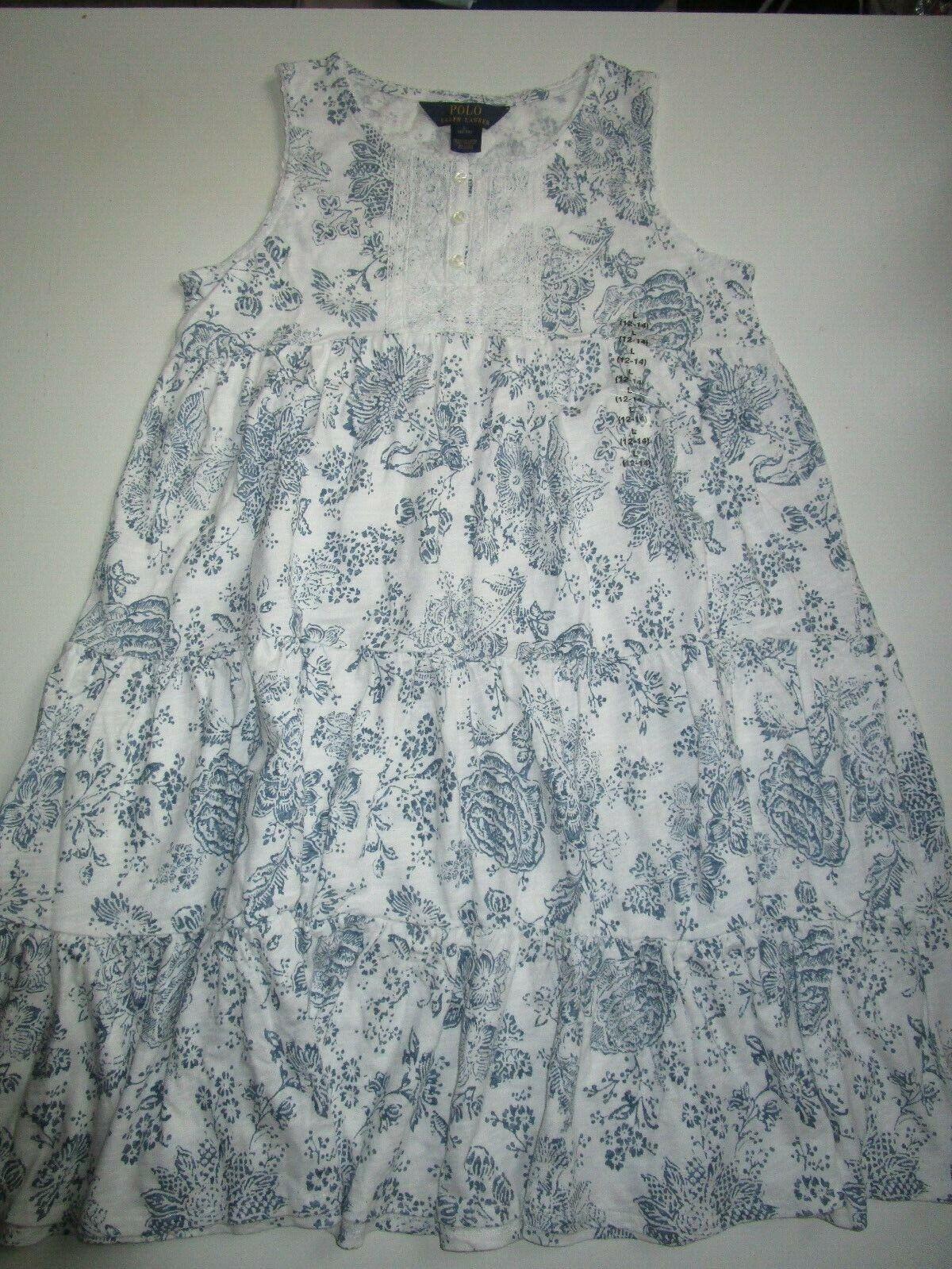 POLO RALPH LAUREN Mädchen KLEID amerik.Gr L(12-14Jahre) Weiß blau NP 79,95  NEU