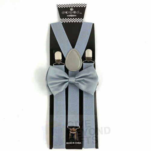 Suspender and Bow Tie Adults Men Light Grey Set Wedding Formal Wear Accessories