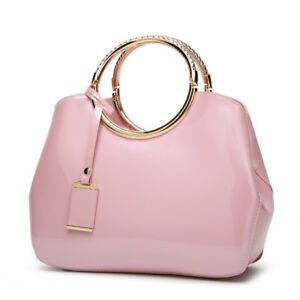 Handtassen Large Trunk Glossy Look Round Bag Pink Leather 2148 Woman Elegant uF3Tl51JKc