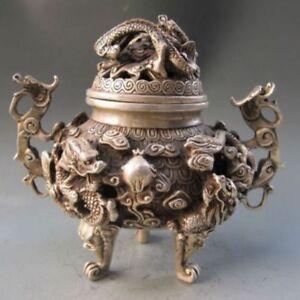 Exquisite-Tibetan-Silver-Copper-Carved-Dragon-Incense-Burner-amp-Lid-w-QianLong-Mark