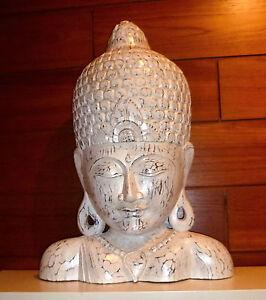 das bild wird geladen buddha kopf maske holz skulptur weiss shabby chic