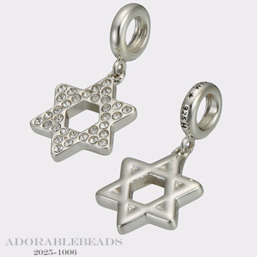 Authentic Chamilia Sterling Silver Hanging Crystal Star Of David Bead  2025-1006