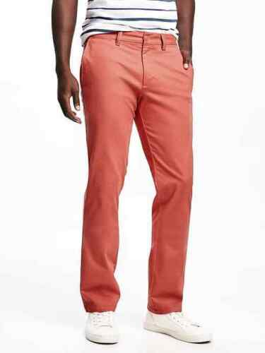 """Men/'s Old Navy Slim Ultimate Khakis CORAL OUTRAGE Cotton Blend 34/"""" x 32/"""" NEW 36/"""""""