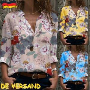 Damen Blumen Hemd Bluse Tunika Oberteil Shirt Tops Business Sommer Hemdblusen