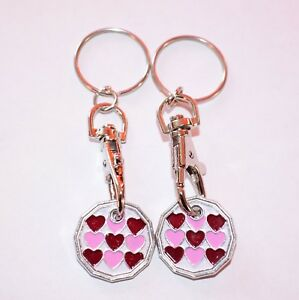 2 PACK HEART HEART ONE POUND COIN TOKEN KEYRING SHOPPING TROLLEY KEYRING