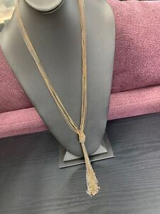 Vintage-Signed-Bohemian-Gold-Silver-Copper-Knotted-Tassel-Multi-Chain-Necklace