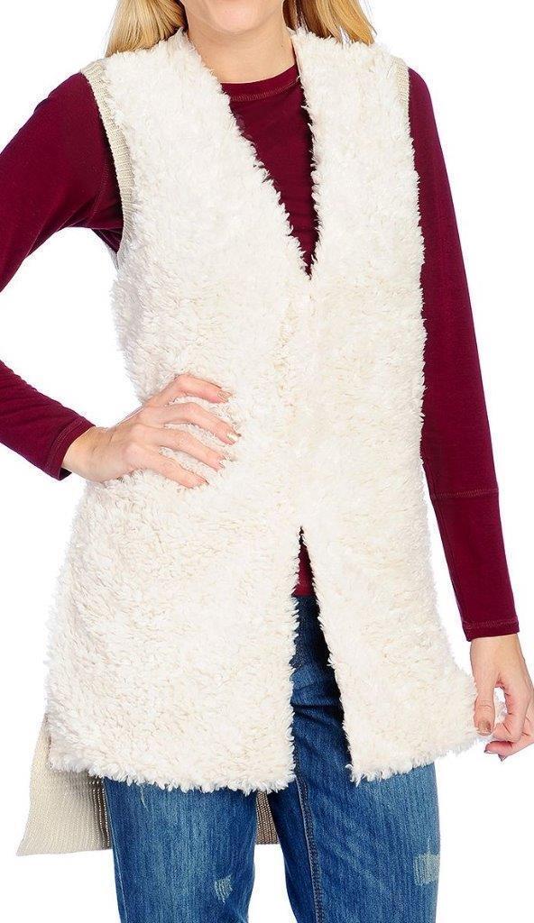 NEW Indigo Thread Co.™ Faux Fur & Ribbed Knit Shirttail Hem Hook Front Vest