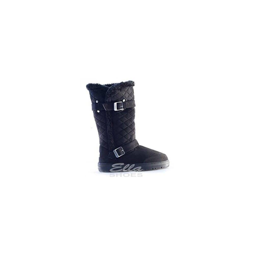 Ella Ladies Boot Buddy Black Lined Vegan Hard sole Fur Winter Buckle Boots