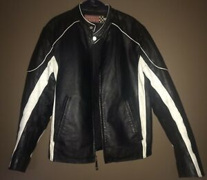 50fb1ca5b Details about WILSONS LEATHER Men's Motorcycle Jacket Coat in Black/White  Stripes (MEDIUM)