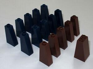 Lego-Steine-2x1x3-Neigung-75-10-teilig-dunkelblau-amp-6-teilig-braun