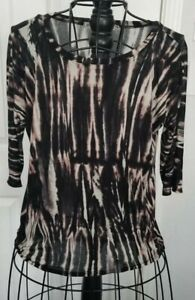 Michael Stars womens black off white tie dye one size 3 4 sleeve t ... c81539b1d