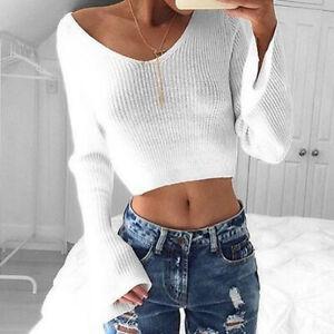 Women-White-V-neck-Long-Sleeve-Knitting-Crop-Tops-Knitwear-Blouse-Sweater-Blouse
