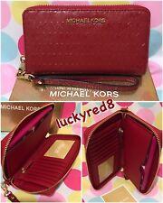 Michael Kors Giftables Jet Set Large Flat MF PHN Case Wallet Wristlet Red