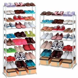 7-10-Tier-Shoe-Rack-Storage-Organiser-Stand-Shelf-Pairs-Shoe-Trainers-Stackable