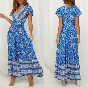 Evening-party-summer-sundress-dress-beach-floral-long-maxi-cocktail-Women-039-s-boho