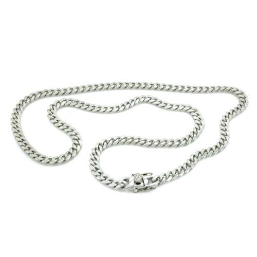 6MM Men/'s Silver Finish Close Tight Miami Cuban Chain Bracelet Triple Box Lock