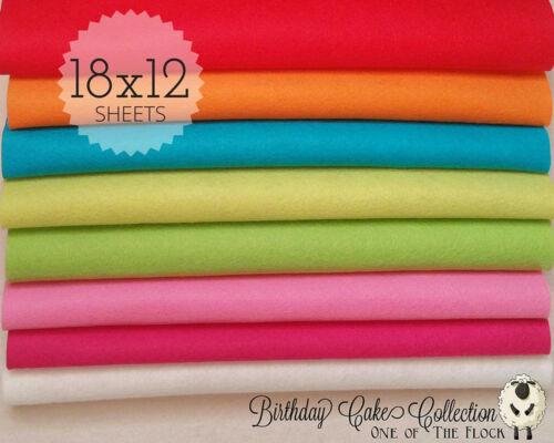 "Birthday Cake Felt Collection Merino Wool Blend Felt EIGHT 12/"" X 18/"" Sheets"