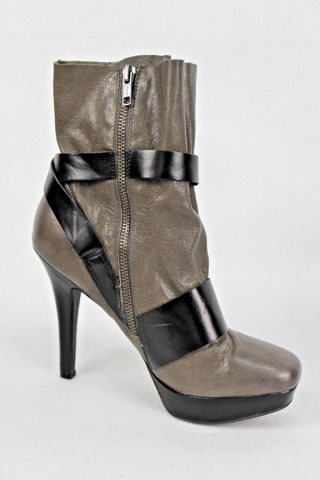 Bacio 61 61 61 Women's Esatto Cement Leather wedge  Boots Sz 8 37d8d8