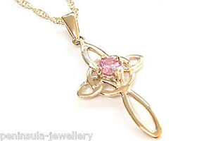 9ct gold pink cz cross pendant necklace and 18 chain gift boxed ebay image is loading 9ct gold pink cz cross pendant necklace and mozeypictures Choice Image