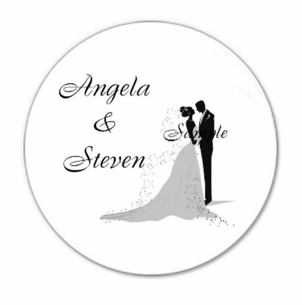 120 Personalized Custom Bride and Groom Wedding Envelope Seals Favor Tins