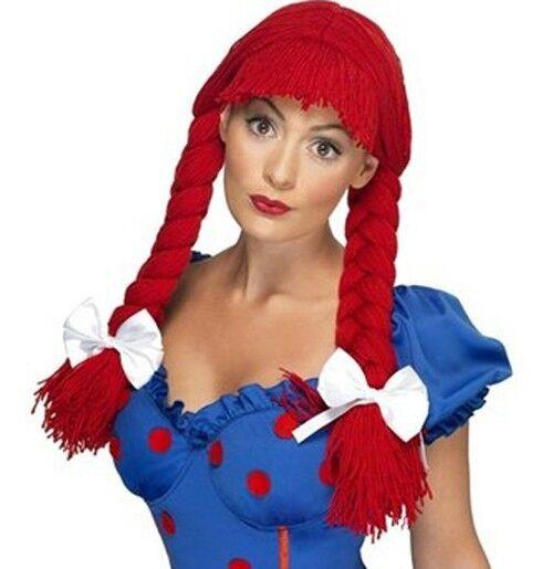 Adult Fairy tale Raggedy Ann Rag Doll Red Pig Tails Yarn Hair Bows Costume Wig