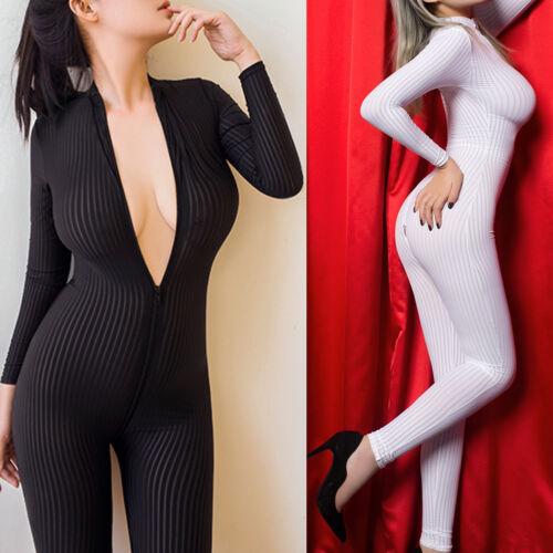 Clubwear Tuta lunghe maniche Tuta a cerniera cavallo bianca nera con e a righe donna aperto pqT4wC7