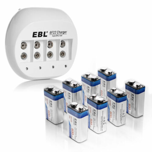 8x EBL 600mAh Li-ion 9V 6F22 Lithium-ion Rechargeable Battery + 9V 6F22 Charger