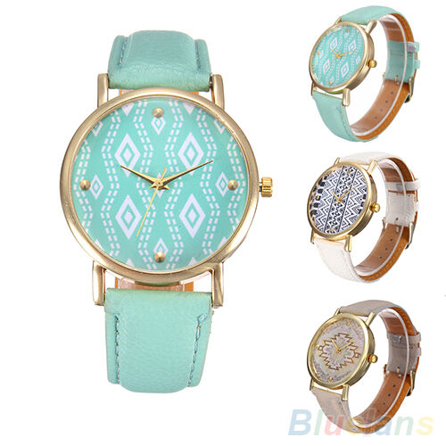 Women's New Perfect Faux Leather Geometric Wave Pattern Quartz Dress Wrist Watch