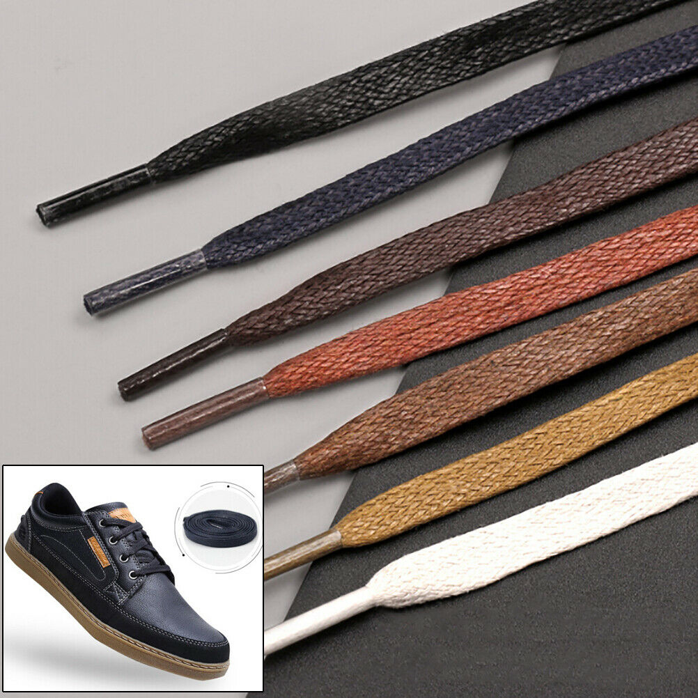 1Pair shoelaces flat round leather shoes shoe strings 80cm//100cm//120cm//150cm F$T