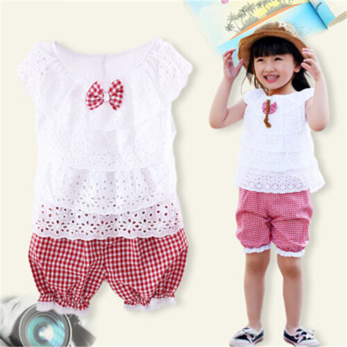 UK STOCK Toddler Kid Baby Girl Summer Outfits T-shirt Tops+Short Pants Clothes
