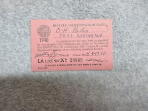 1940 Los Angeles California  BICYCLE IDENTIFICATION CARD Registration or LICENSE