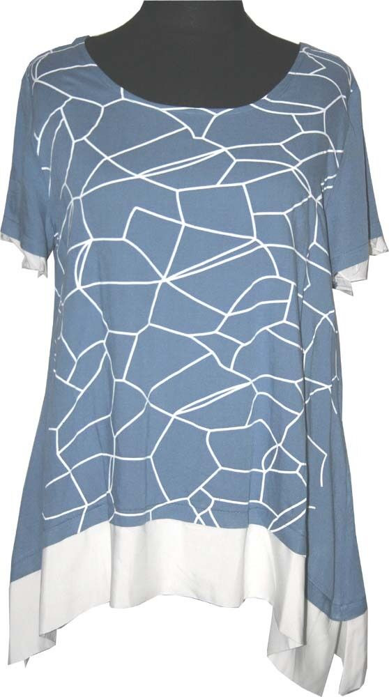 Zedd plus lin T-shirt 2-in-1 Look Taille 48 50 (3) Jeans Bleu