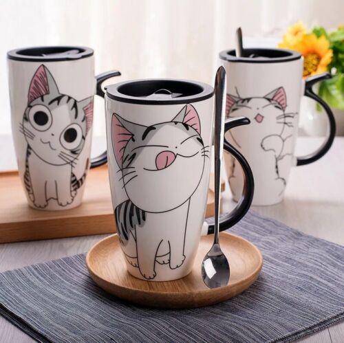 Creative Cat Ceramic Mug Cup Novelty Gift Lid Spoon Cartoon Coffee Milk Tea Cup