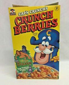 Vtg 1999 Quaker Cap'n Crunch Crunch Berries Cereal Box w/ Disney's Tarzan Offer