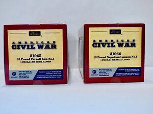 BRITAINS-ACW-31065-10lb-PARROTT-GUN-x-1-and-31066-12lb-NAPOLEON-CANNON-x-1