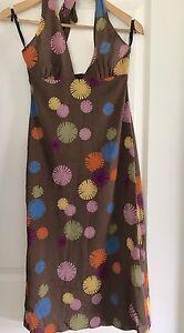LISA-HO-WOMENS-DRESS-HALTER-NECK-FLORAL-Print-Silk-LINED-ELASTANE-Sz-8