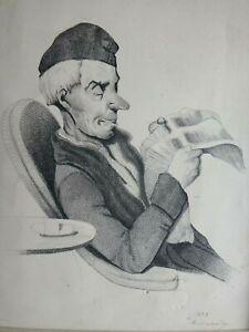 Ancienne-caricature-homme-lisant-1842-suiveur-Daumier-signe-Antique-drawing-XIX