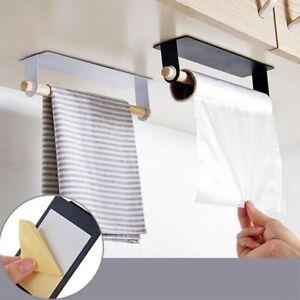 Kitchen-Towel-Holder-Roll-Paper-Storage-Rack-Tissue-Hanger-Under-Cabinet-Door