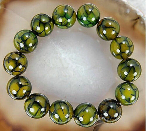 Natural 8 10 12mm Yellow Dragon Vein Agate Round Gemstone Beaded  Bracelet 7.5/'/'