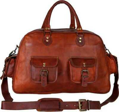 Women/'s genuine Leather large vintage duffle travel gym weekend overnight bag