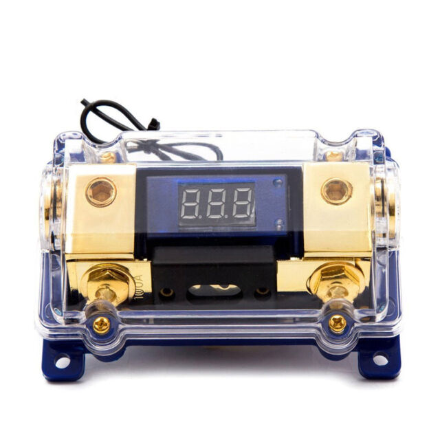 Voltage LED Display 100A 2-Way Car AGU Audio Fuses Holder Distribution Block