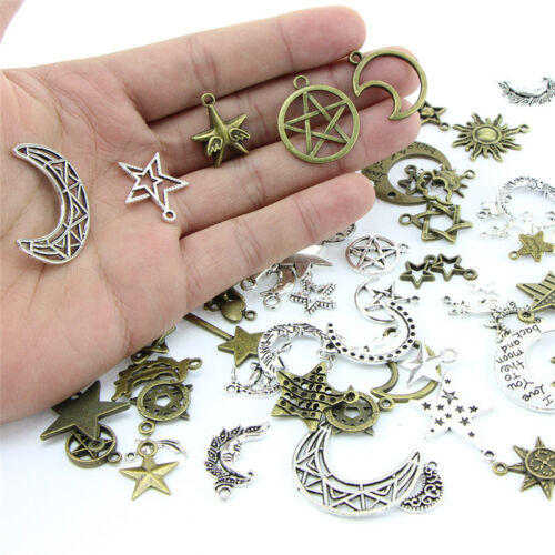 1Bag Mix Stars Moon Pendant DIY Necklace Metal Craft Jewelry Making Findings YH