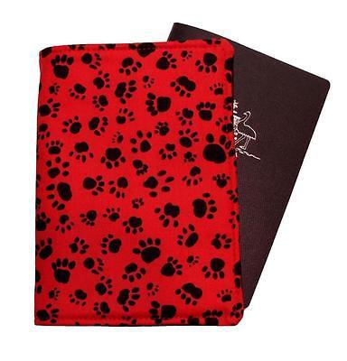 PASSPORT COVER/FOLDER/WALLET - DOG/CAT PAWS RED made by Graggie Australia*GA