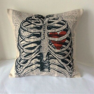 Vintage Skeleton Skull Cotton Linen Cushion Cover Throw Pillow Home Decor B13