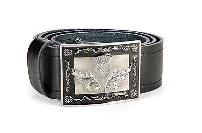 New Wedding Kilt Thistle Scalloped Shaped Belt Buckle With Antique Finish