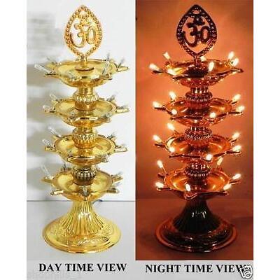 Re-Buy 3 Layer 21 LED Golden OM Design Electric Diya Decorative Lamp festivals